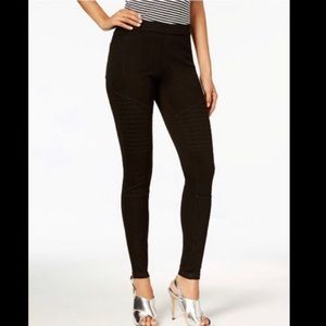 NWT HUE Black Denim Moto Leggings Size M